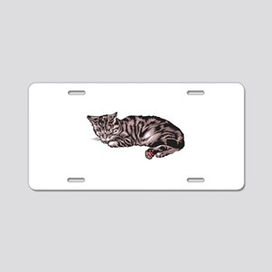 Napping Grey & Black Tabby Aluminum License Pl