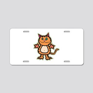 Psychedelic Crazy Kitty Aluminum License Plate