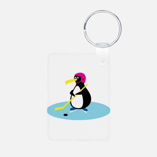 Cute Hockey Playing Penguin Keychains