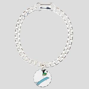 Funny Diving Penguin Charm Bracelet, One Charm