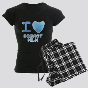 Blue I Heart (Love) Breast Mi Women's Dark Pajamas