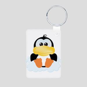 Cute Penguin On a Cloud Aluminum Photo Keychain