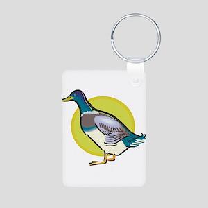 Colorful Wood Duck Aluminum Photo Keychain