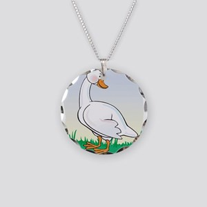 Cute Happy Goose Necklace Circle Charm