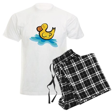 Cute Rubber Ducky in Water Men's Light Pajamas