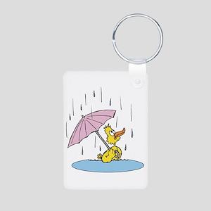Ducky With Unbrella Aluminum Photo Keychain