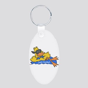 Ducky on a Raft Aluminum Oval Keychain