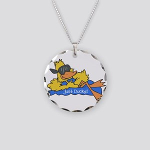 Ducky on a Raft Necklace Circle Charm
