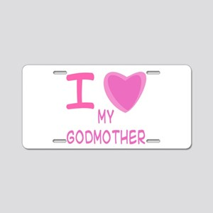 Pink I Heart (Love) Godmother Aluminum License Pla