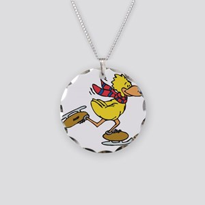 Ice Skating Duck Necklace Circle Charm