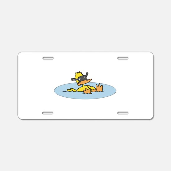 Swimming Ducky With Shades Aluminum License Plate