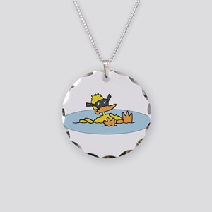 Swimming Ducky With Shades Necklace Circle Charm