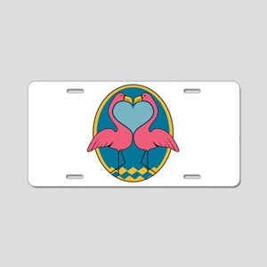 Flamingo Heart Design Aluminum License Plate