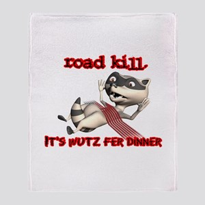 Racoon Road Kill for Dinner Throw Blanket