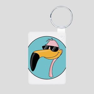 Flamingo in Shades Aluminum Photo Keychain