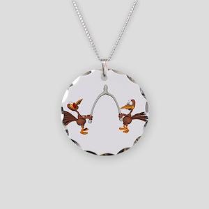 Turkeys Making Wish (Wishbone Necklace Circle Char