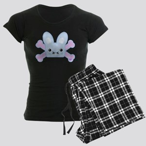 Kawaii Bunny and Crossbones Women's Dark Pajamas