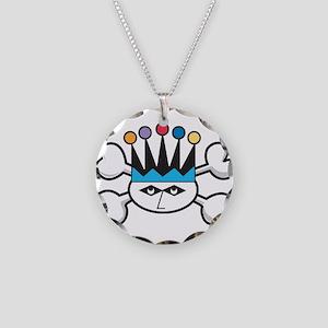 Retro Jester Clown & Crossbon Necklace Circle