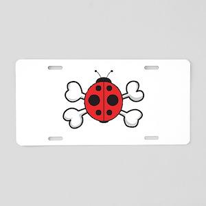Cute Ladybug & Crossbones Aluminum License Pla