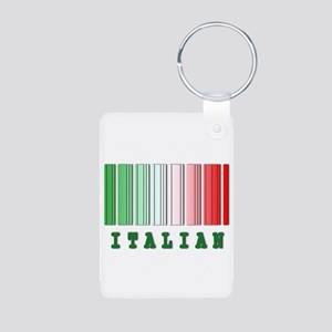 Italian Barcode Design Aluminum Photo Keychain