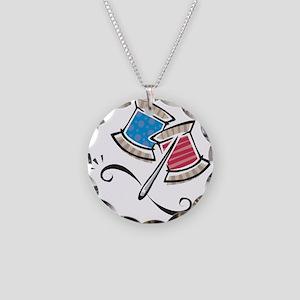 Cute Needle & Thread Design Necklace Circle Ch