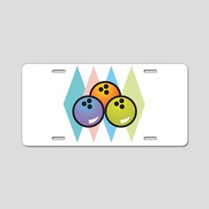 Retro Argyle Bowling Design Aluminum License Plate