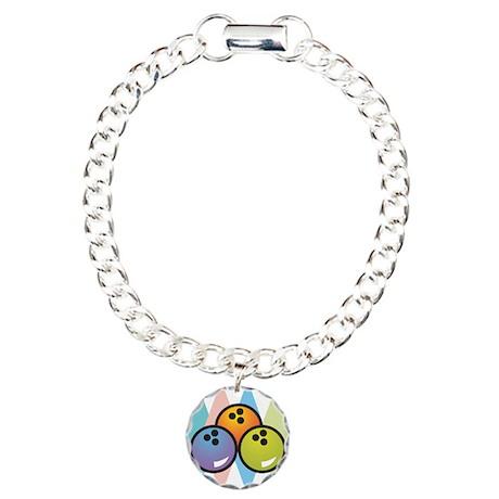 Retro Argyle Bowling Design Charm Bracelet, One Ch