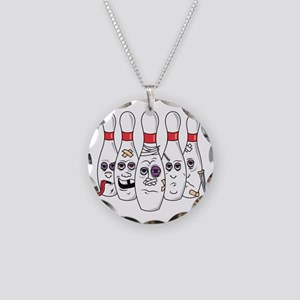 Beat Up Bowling Pins Necklace Circle Charm