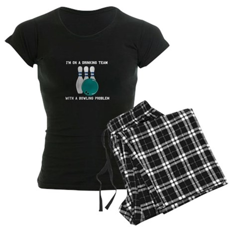 On a Drinking Team with a Bow Women's Dark Pajamas