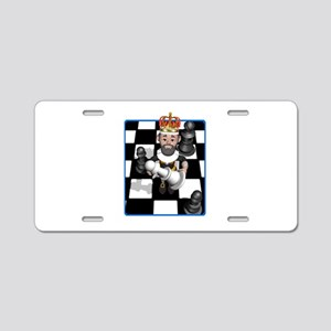 Chess Board with King and Paw Aluminum License Pla
