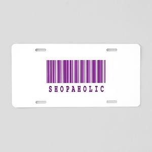 Shopaholic Barcode Design Aluminum License Plate
