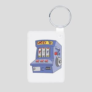 Slot Machine Aluminum Photo Keychain