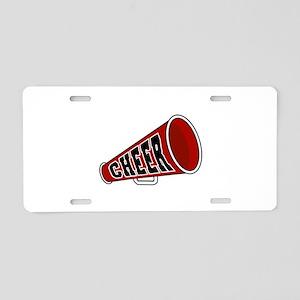 Red Cheer Megaphone Aluminum License Plate