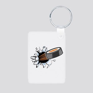 Hockey Puck Rip Through Aluminum Photo Keychain