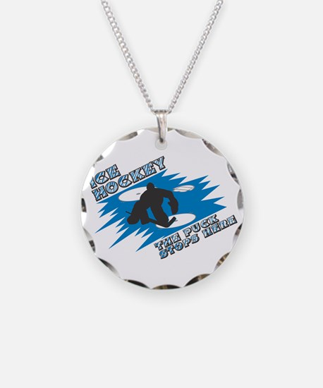 The Puck Stops Here Necklace Circle Charm