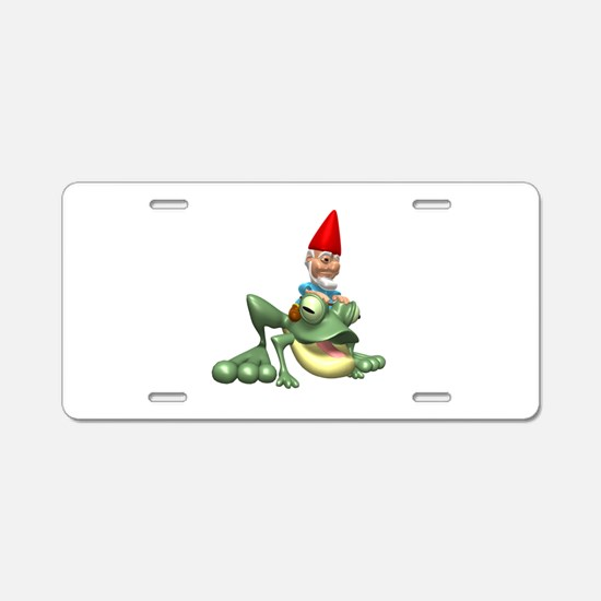 Gnome Riding a Frog Aluminum License Plate