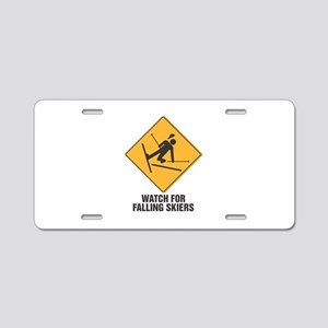 Falling Skiers Sign Aluminum License Plate