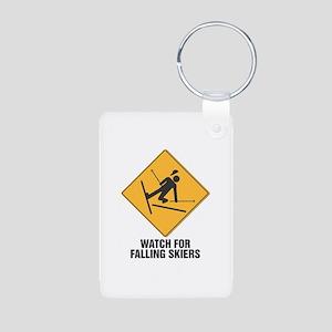 Falling Skiers Sign Aluminum Photo Keychain