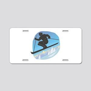 Cool Skier Design Aluminum License Plate