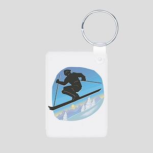 Cool Skier Design Aluminum Photo Keychain