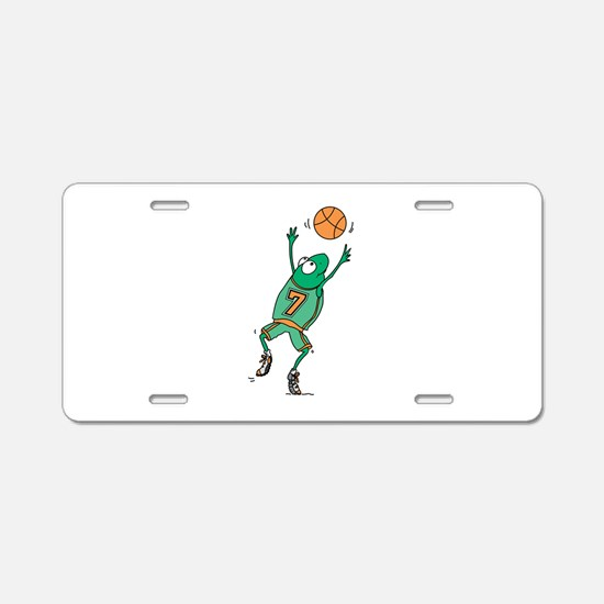Cute Frog Basketball Player Aluminum License Plate