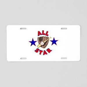 All Star Baseball Design Aluminum License Plate