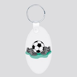 Soccer Ball and Cleats Aluminum Oval Keychain