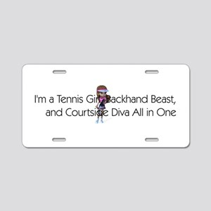 Tennis Court Diva Aluminum License Plate