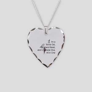 Tennis Court Diva Necklace Heart Charm