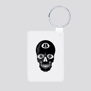 Eight Ball (8 Ball) Skull Aluminum Photo Keychain