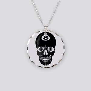 Eight Ball (8 Ball) Skull Necklace Circle Charm