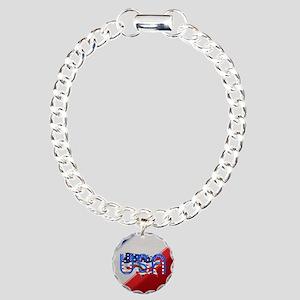 Patriotic USA Charm Bracelet, One Charm