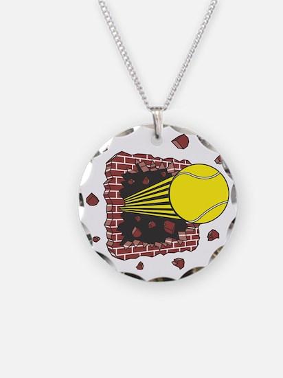Tennis Ball Through Brick Wal Necklace