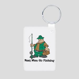 Reel Men Go Fishing Aluminum Photo Keychain